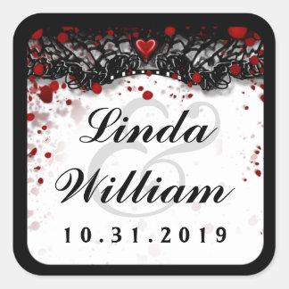 Blood Splatter Love Halloween Wedding Square Label Square Sticker