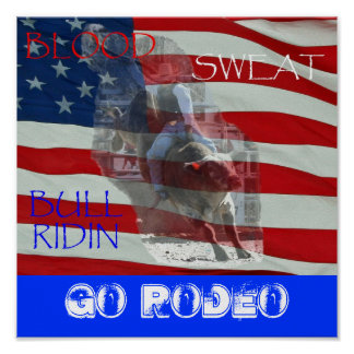 BLOOD SWEAT BULL RIDIN, Go Rodeo Poster