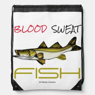 BLOOD SWEAT FISH DRAWSTRING BAG