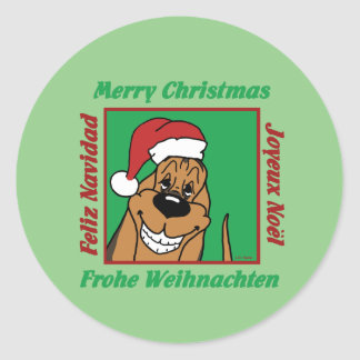 Bloodhound Christmas Classic Round Sticker