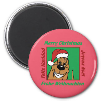 Bloodhound Christmas Magnet