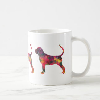 Bloodhound Colorful Geo Pattern Silhouette Multi Coffee Mug