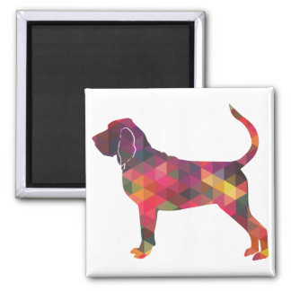 Bloodhound Colorful Geo Pattern Silhouette Multi Magnet