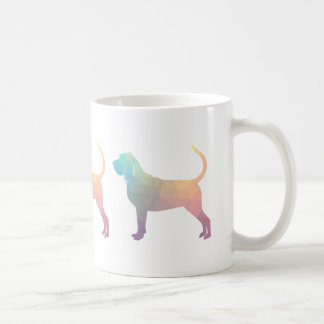 Bloodhound Colorful Geo Pattern Silhouette Pastel Coffee Mug