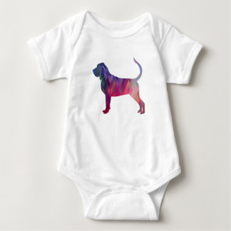 Bloodhound Colorful Geo Pattern Silhouette Pink Baby Bodysuit