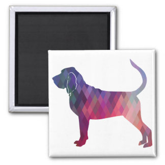 Bloodhound Colorful Geo Pattern Silhouette Pink Magnet