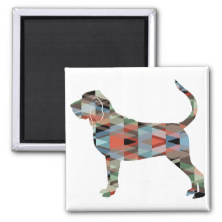 Bloodhound Colorful Geo Pattern Silhouette Plaid Magnet