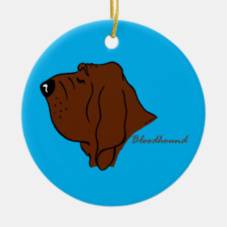Bloodhound head silhouette ceramic ornament