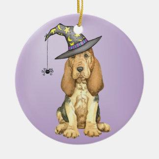 Bloodhound Witch Ceramic Ornament