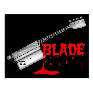 Bloody Halloween Bass Guitar Postcard