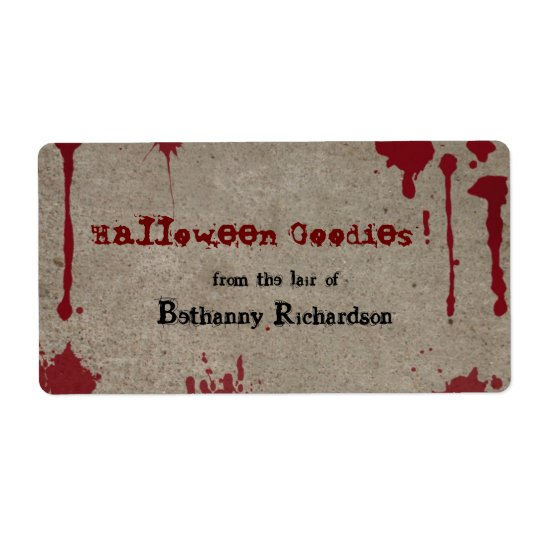 Bloody Halloween Kitchen Label Shipping Label