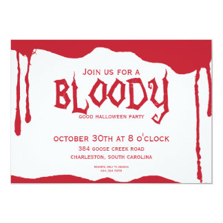 Bloody Halloween Party Card