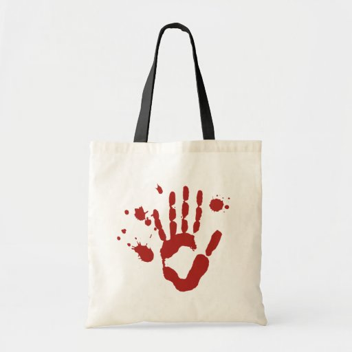 Bloody Hand Blood Spatter Halloween Trick Or Treat Tote Bags