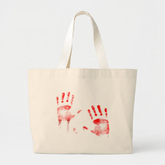 Bloody hands large tote bag