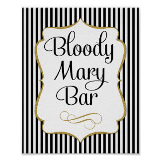 Bloody Mary Bar Sign Black Gold