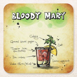 Bloody Mary Bartender Drink Recipe Square Paper Coaster