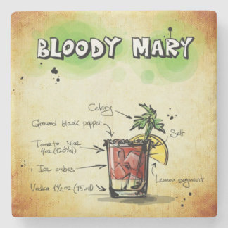 Bloody Mary Bartender Drink Recipe Stone Coaster