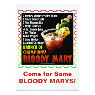 """BLOODY MARY, Brunch of Champions 5.5"""" X 7.5"""" Invitation Card"""