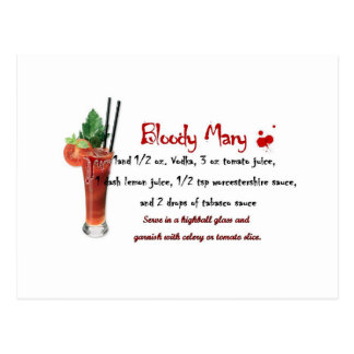 Bloody Mary Drink Recipe Postcard