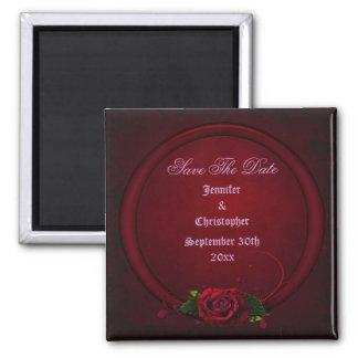 Bloody Rose Frame Save The Date Goth Wedding Fridge Magnet
