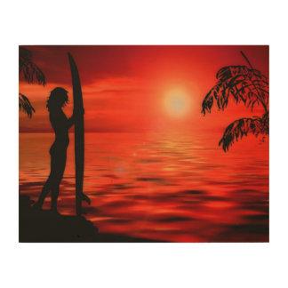 BLOODY SUNSET WOOD WALL ART