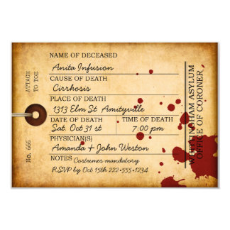 Bloody Toe Tag Halloween Antique Grunge Asylum Card