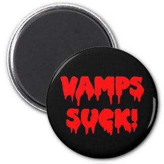 """Bloody """"Vamps Suck"""" 6 Cm Round Magnet"""