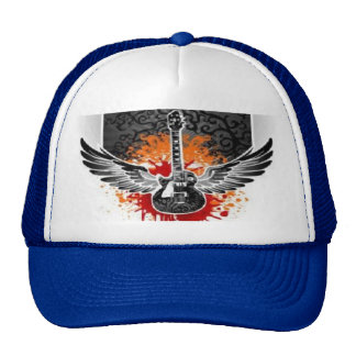 Bloody Winged Guitar Baseball Trucker Hat Custom