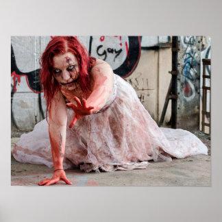 Bloody Zombie Apocalypse Girl Poster