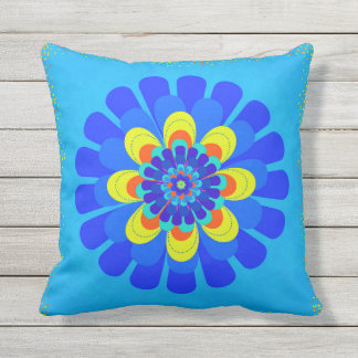 Bloom Blue Throw Pillow