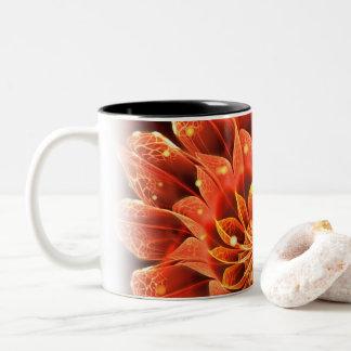 Bloom of Fire, a Pretty Red Dahlia Fractal Flower Two-Tone Coffee Mug