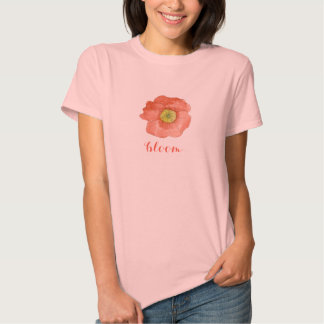 Bloom T-Shirt Red Orange Poppy Flower Watercolor