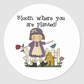Bloom Where You Are Planted Round Sticker