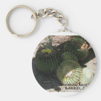BLOOMING BARREL CACTI AND ASSORTED PHRASES BASIC ROUND BUTTON KEY RING