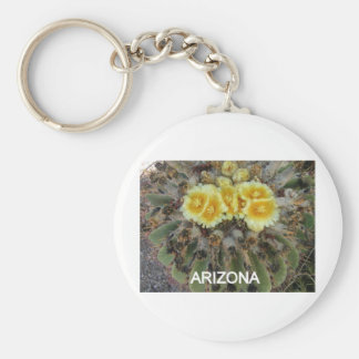 BLOOMING BARREL CACTI AND PHRASES BASIC ROUND BUTTON KEY RING