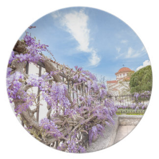 Blooming blue Wisteria sinensis on fence in Greece Plate