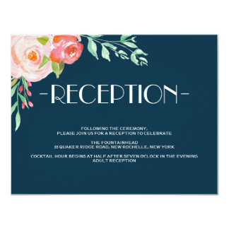 Blooming Botanicals   Wedding Reception Card 11 Cm X 14 Cm Invitation Card