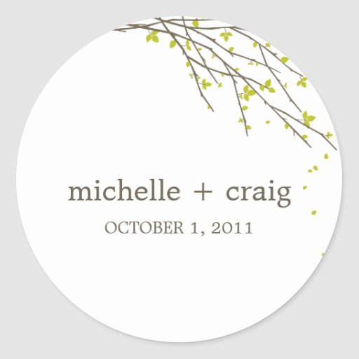 Blooming Branches Favor Stickers - Lime Stickers