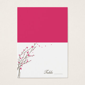 Blooming Branches Folded Place Cards - Fuchsia