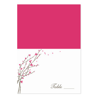 Blooming Branches Folded Place Cards - Fuchsia Pack Of Chubby Business Cards