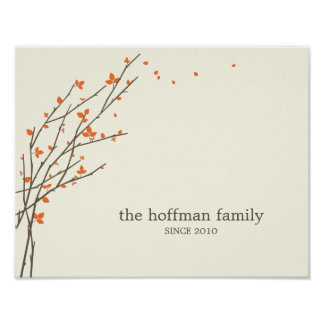 Blooming Branches Personalized Wall Art -Orange-