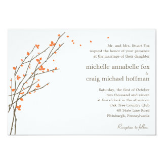 Blooming Branches Wedding Invitation - Orange