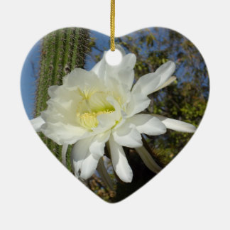 Blooming Cacti Flowers Ceramic Heart Decoration