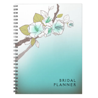 Blooming Cherry Blossoms Bridal Planner aqua Journal