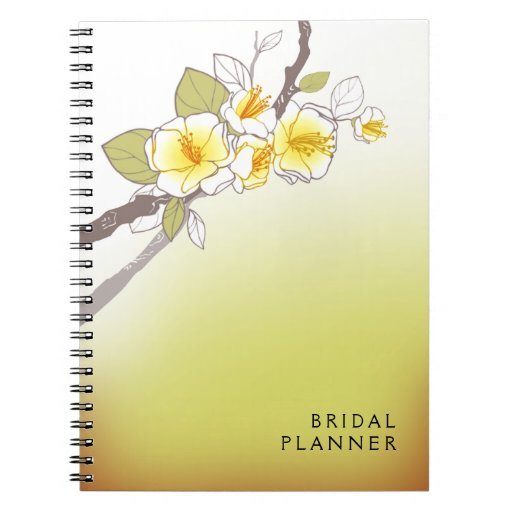 Blooming Cherry Blossoms Bridal Planner yellow Journals