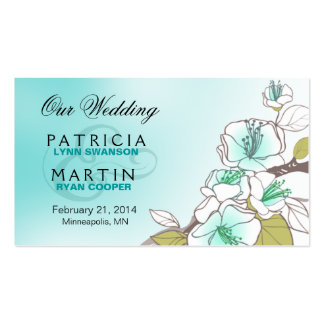 Blooming Cherry Blossoms Wedding Website aqua Business Card