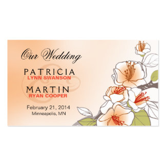 Blooming Cherry Blossoms Wedding Website peach Business Card Template