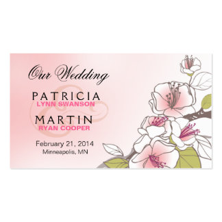 Blooming Cherry Blossoms Wedding Website pink Business Card