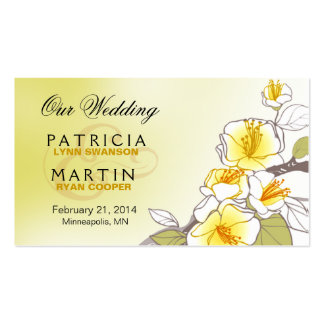 Blooming Cherry Blossoms Wedding Website yellow Business Card Template