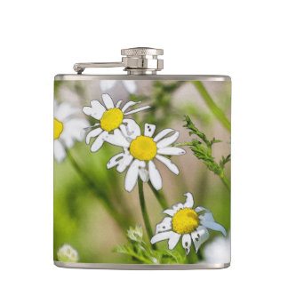 Blooming Daisies Floral Painterly Photograph Flasks